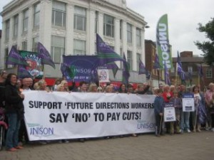 Future Directions strikers rally in Rochdale town centre