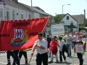 Carmarthenshire Unison branch on the march in Swansea