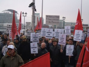 Visteon Pensions Action Group protest outside the Welsh Assembly.