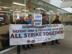 NSSN supporters join NAPO members at the Probation Service head office.