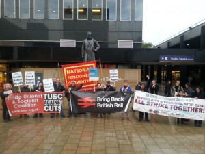 Protest at Euston station on 20th anniversary of rail privatisation