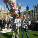 Chas Berry, NAPO branch chair wishes Grayling happy birthday outside Parliament
