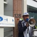 Ex-Visteon Swansea plant convenor Rob Williams chairs rally outside Unite HQ