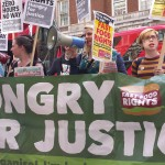 Protesters 'Hungry for Justice' demand £10 an hour minimum wage and trade union rights.