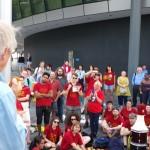 Ken Loach addressing the rally