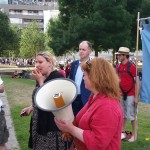 Clare Laker bringing a message of solidarity from the Bakers Union
