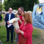 Rob Lugg, steward at the Ritzy speaking at the rally.