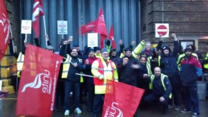 Large, colourful picket at Bow garage, East London.