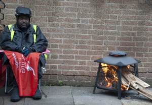 Clapton picketers know it's not a proper January picket without a brazier!