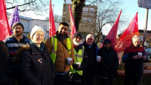 Suzanne Muna, Secretary of Unite Housing 1111, bring support from her branch to  Leyton garage.