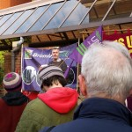 Unison branch secretary Glenn Kelly addresses rally