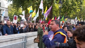 Oktay Sahbaz Day-Mer addressing London protest
