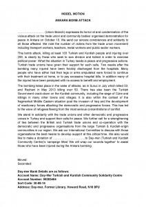 Ankara Massacre Model Motion