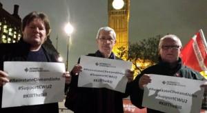 BFAWU General Secretary Ronnie Draper & President Ian Hodson and PCS Vice-President John McInally supporting sacked CWU members Clive Walder & John Vasey at tonight's TUCG #KillTheBill protest at 3rd reading of Tory Trade Union Bill