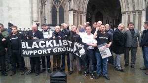Blacklist Support Group protest outside Royal Courts of Justice on 7th December