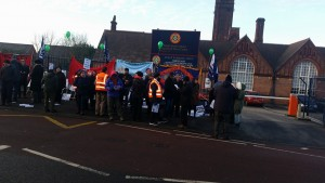 Picket line at Small Heath school in Birmingham on the first of nine strike days against the threat of bring turned into an academy and for the lifting of the suspension of NUT rep Simon O'Hara