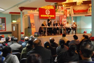 Tessa Warrington giving solidarity from NSSN to Feb 26 BFAWU Samworth meeting