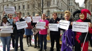 Fast Food Rights protest - including BFAWU President Ian Hodson - send solidarity to Tata workers