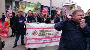 NSSN on BFAWU/Fast Food Rights Wakefield April 14 protest