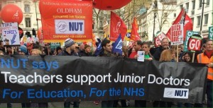 NUT banner at People's Assembly April 16 demo
