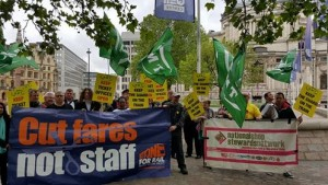 Protest outside Rail Industry Day conference May 18 including RMT Southern Rail strikers