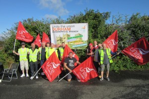 Unite members on Aug 3rd strike at HMY Radford in Burnopfield