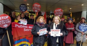 London protest including sacked PCS rep Finola Kelly & PCS President Janice Godrich