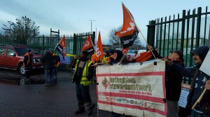GMB members on strike on 28 February