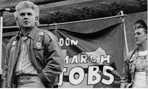 John Macreadie speaking at 1986 Labour Party Young Socialists demo