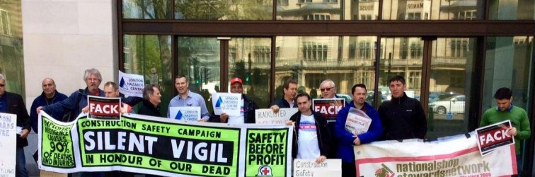 April 12th vigil outside Crossrail prosecution over death of Rene Tkacik at Westminster magistrates court organised by Construction Safety Campaign and supported by London Hazards Centre