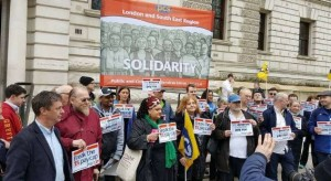 PCS pay day protest outside Treasury with President Janice Godrich, Vice-President Zita Holbourne and Assistant General secretary Chris Baugh