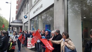BMW workers protest outside Park Lane showroom April 29