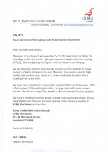 Barts Health NHS Unite branch appeal letter - July 2017