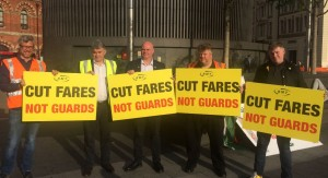 RMT fares protest August 15th outside Kings Cross