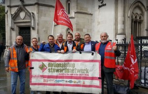 NSSN supporting Unite binworkers outside High Court Sept 18
