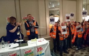 Richard Beddows Unite Birmingham bins convenor speaking at NSSN TUC Rally with chair PCS President Janice Godrich