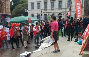NSSN chair Rob Williams speaks at September 4th BFAWU McDonalds strike rally outside Parliament