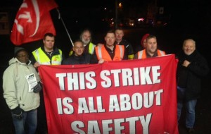 Nov 8 picket at Farnham with RMT President Sean Hoyle