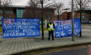 Ian Allinson protesting outside Fujitsu