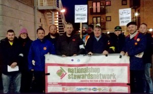 NSSN supporting RMT Staines picket last November