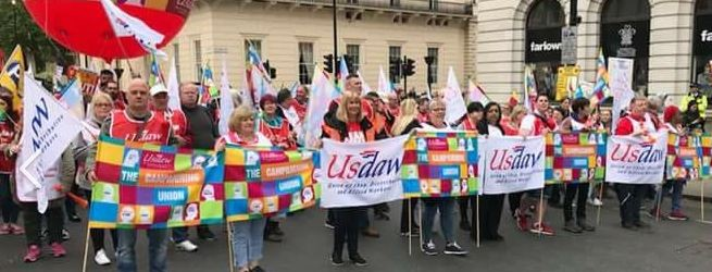 USDAW contingent on May 12th TUC demo led by National President Amy Murphy