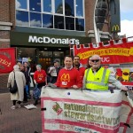 Rob Williams NSSN chair supporting Watford protest with BFAWU General Secretary Ronnie Draper