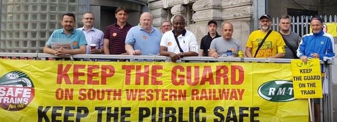 RMT South West Railway Waterloo picket July 26
