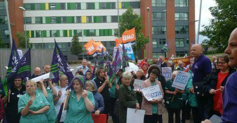 Adrian O'Malley - Branch Secretary Unison Mid Yorkshire Health addressing a protest in June