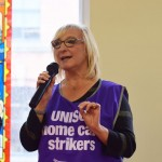 Unison rep Mandy Buckley speaks at NSSN TUC Rally
