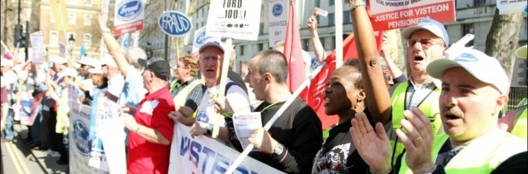 Ex-Ford workers protest about their pensions after Visteon went into administration in 2009