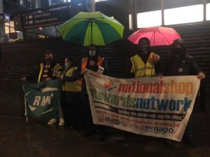 Caledonian Sleeper Euston picket with RMT Senior AGS Steve Hedley