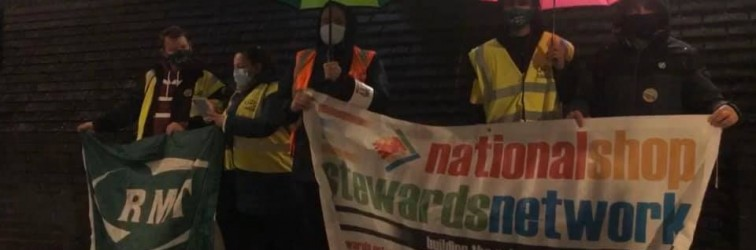 Caledonian Sleeper picket with RMT AGS Steve Hedley