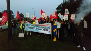 Scaffolders on strike at Scunthorpe British Steel Oct 11th